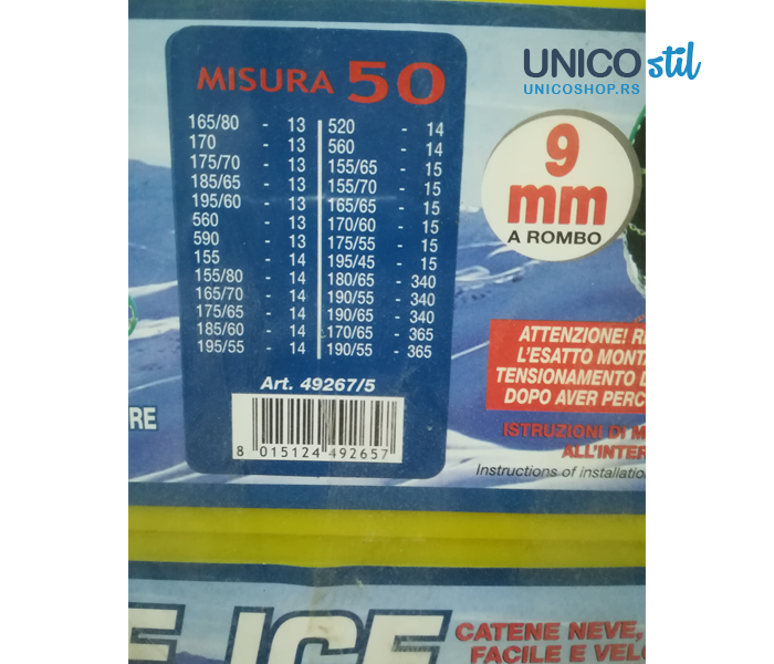 Lanci za sneg 9mm grupa 50 Blue ice TUV/GS