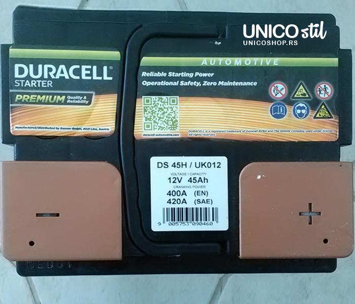 Akumulator Duracell Starter 12v,45ah, D+,DS 45H