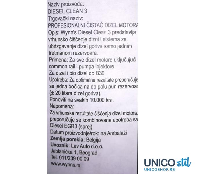 Aditiv za gorivo diesel Clean DC 3,500ml wynns