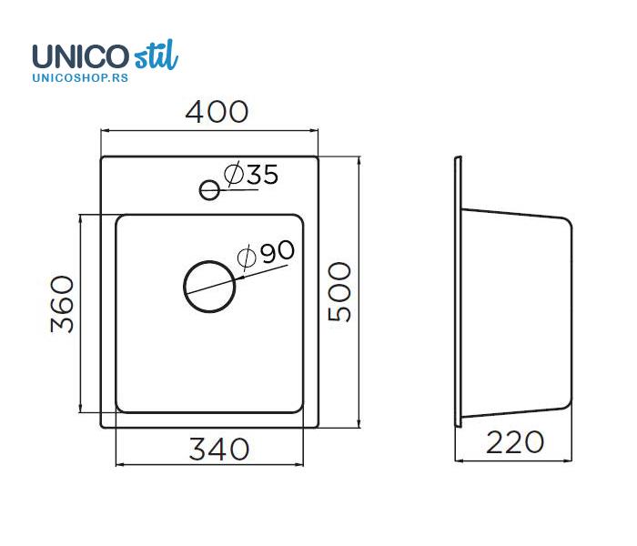 Sudopera X Quadro 40 400x500 bež